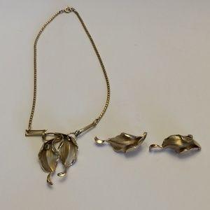 Vintage Gold Tone Earrings and Bracelet Set